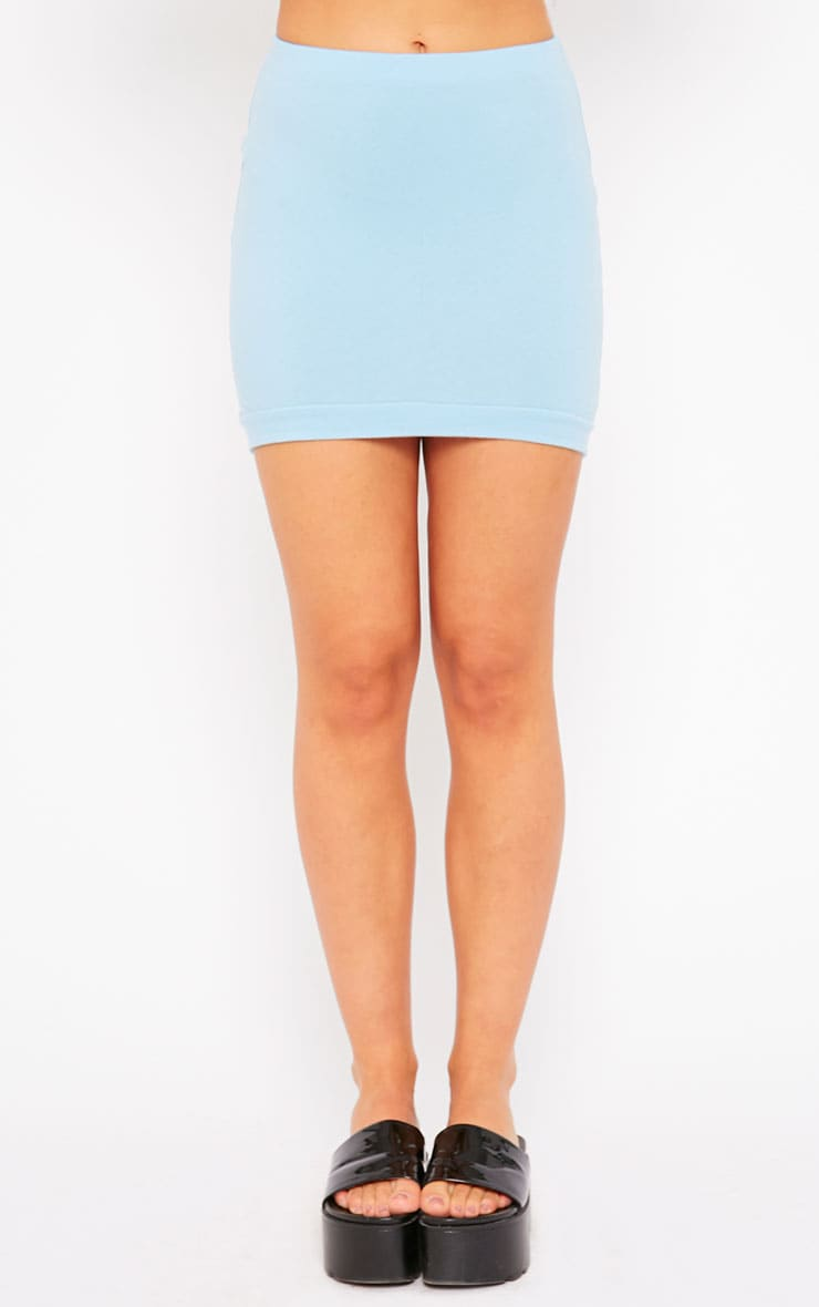 Phoenix Blue Curved Hem Mini Skirt 2
