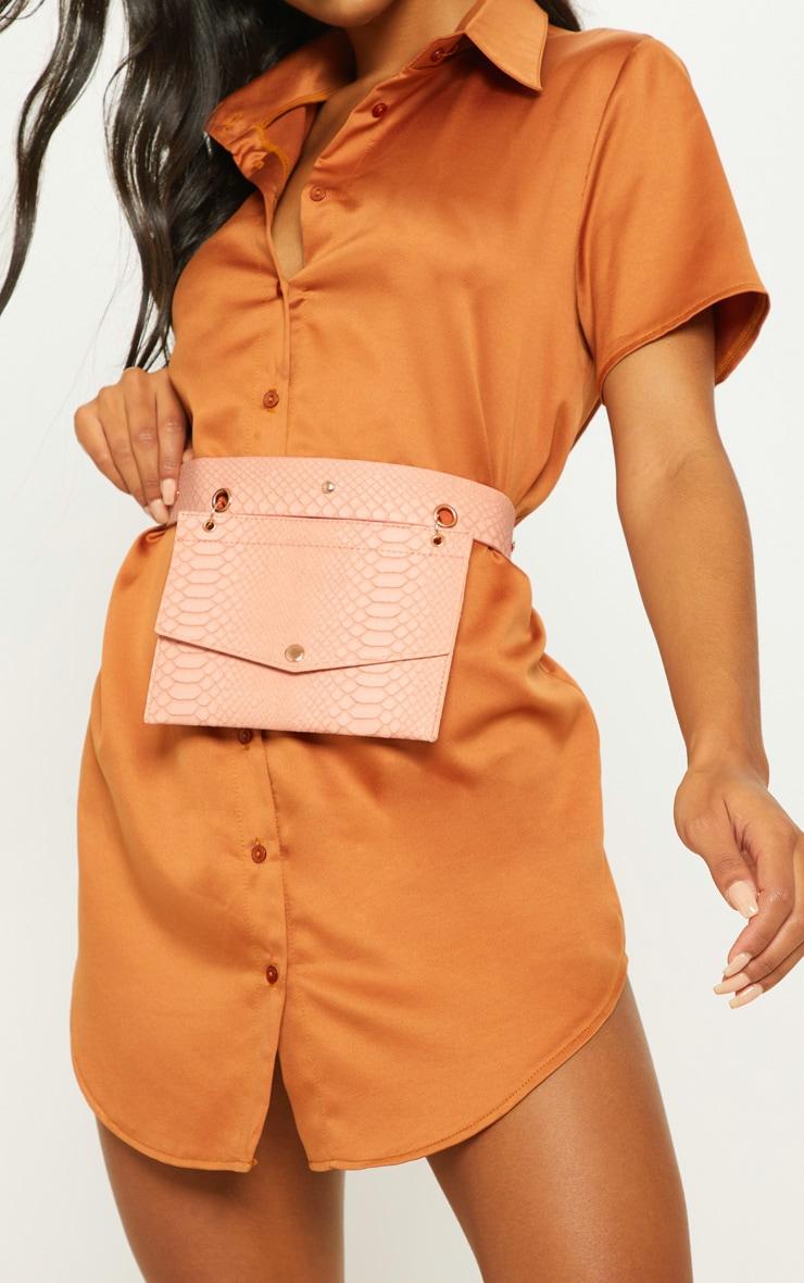 Nude Croc Envelope Belted Bum Bag 1