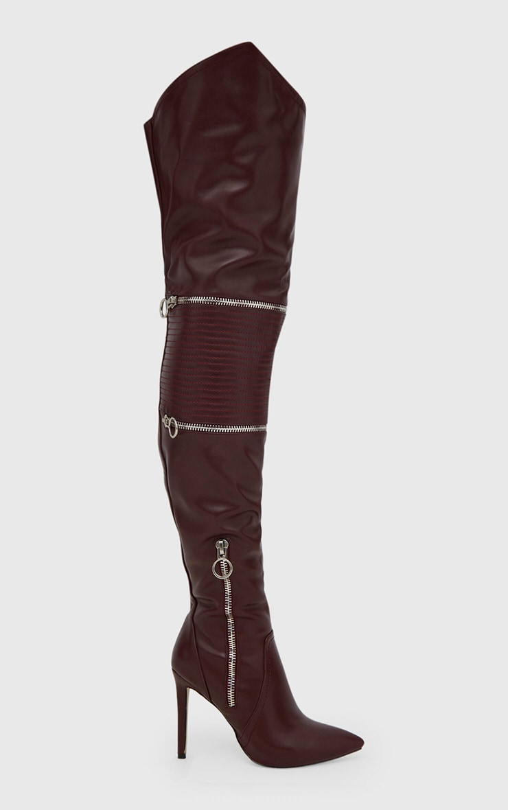 Burgundy Thigh High Heeled Biker Boots  3