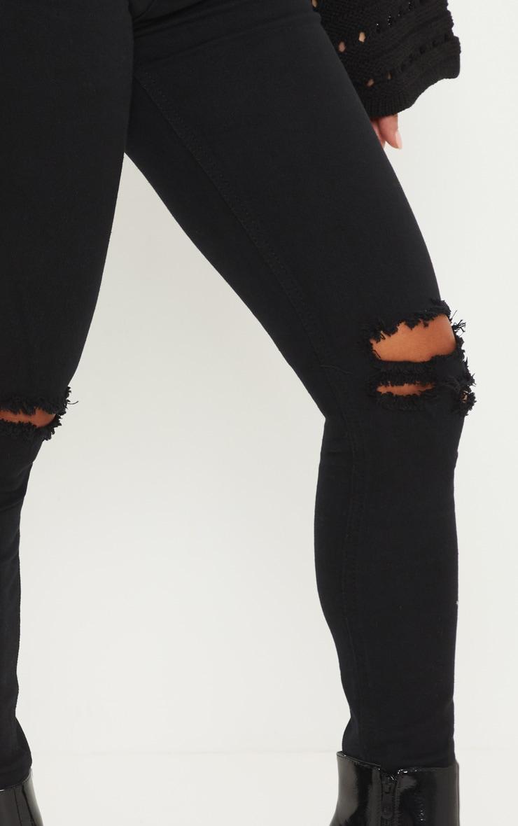 Petite - Jean noir déchiré aux genoux 5