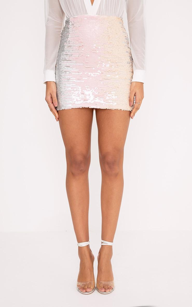 Haider Silver Multi Sequin Mini Skirt 2
