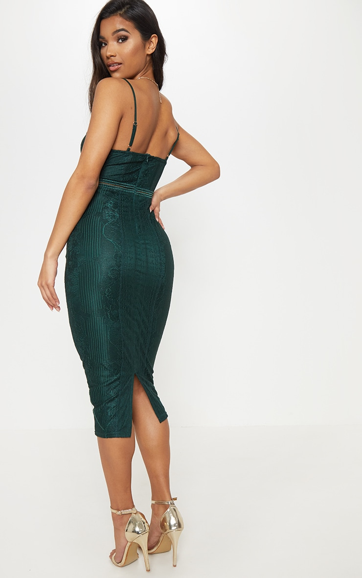 Emerald Green Lace Mesh Stripe Insert Midi Dress 2