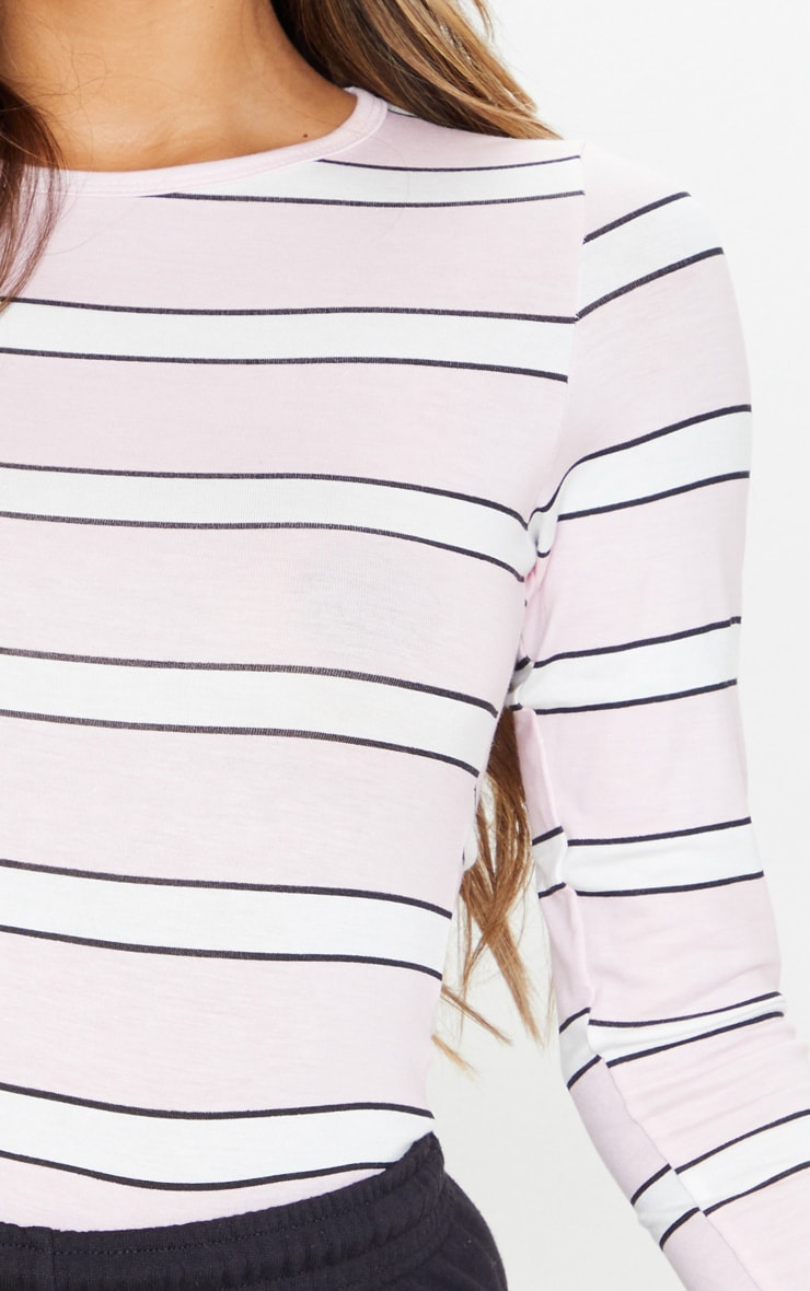 Basic Pink Stripe Long Sleeve Fitted T Shirt  5