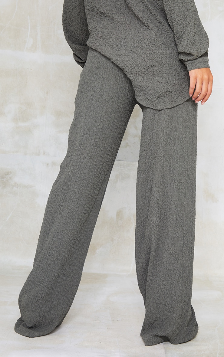 Grey Textured Crinkle Wide Leg Trousers 3