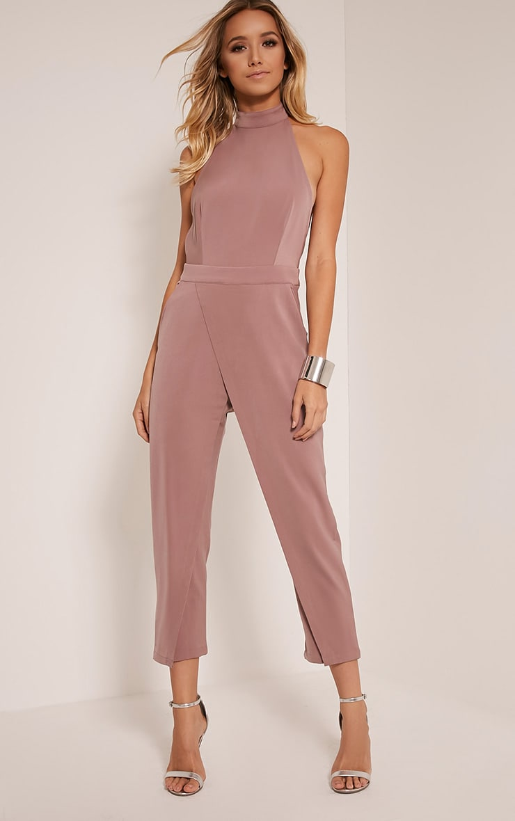 Carolinah Mauve Wrap Detail High Neck Jumpsuit 1
