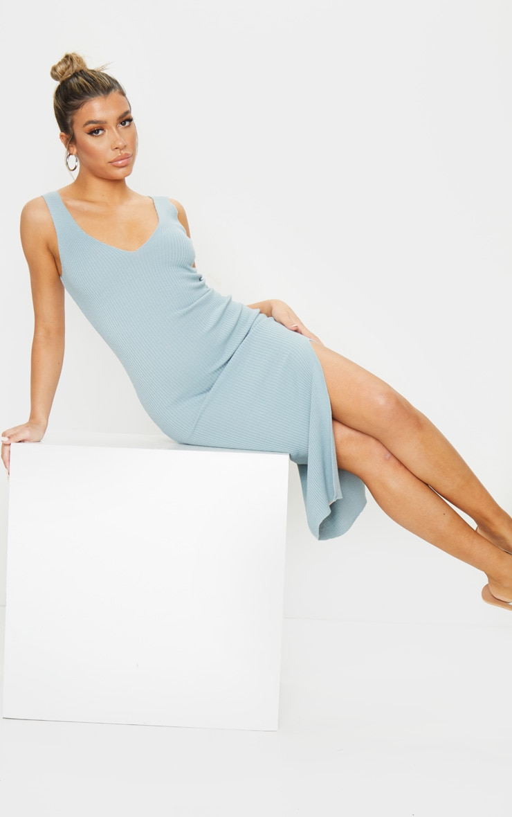 Baby Blue V Neck Side Split Knitted Midi Dress 3
