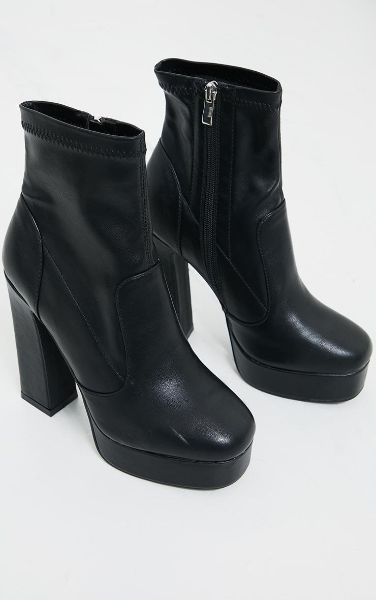 Black Platform Block Heel PU Sock Boots 3