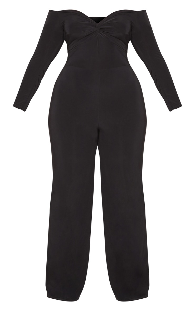 Plus Black Slinky Twist Bardot Wide Leg Jumpsuit 3
