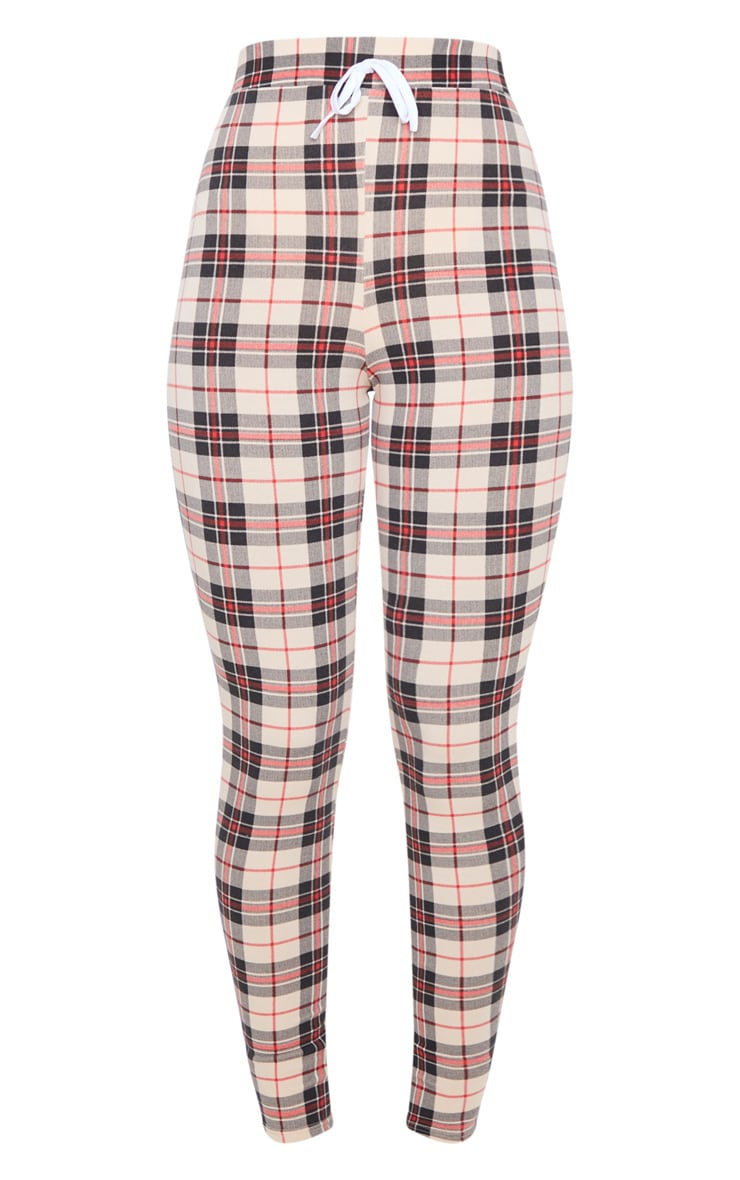 Stone Contrast Binding Check Tie Waist Detail Legging 3