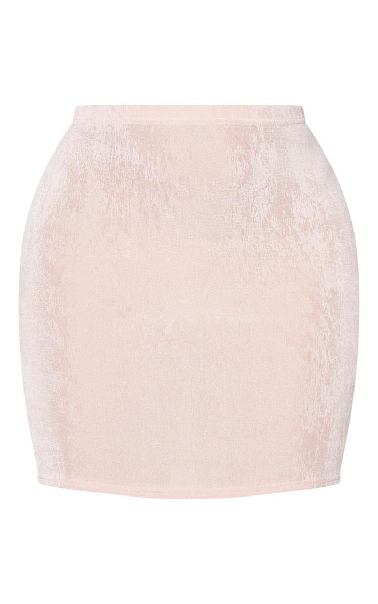 Blush Slinky Acetate Ruched Side Mini Skirt 6