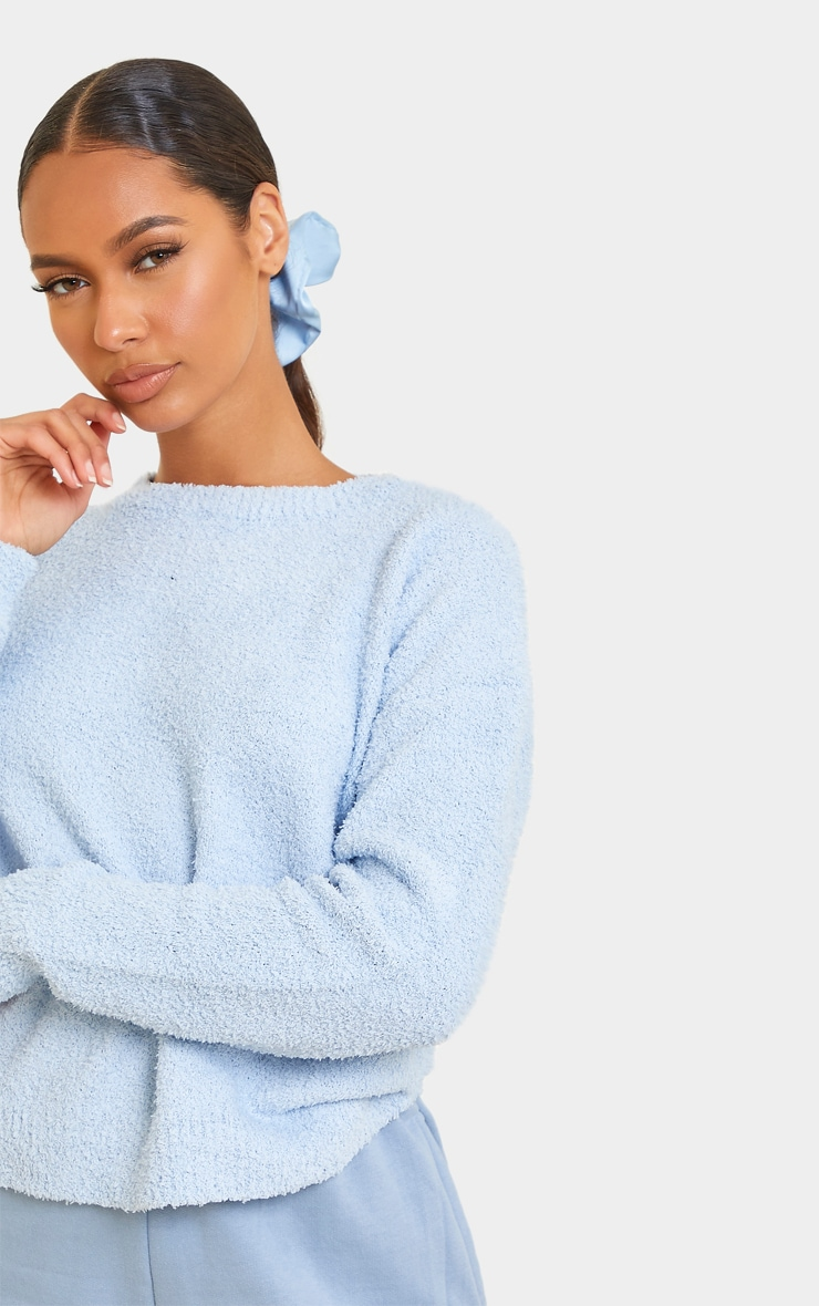 Baby Blue Fluffy Knit Crew Neck Sweater 4