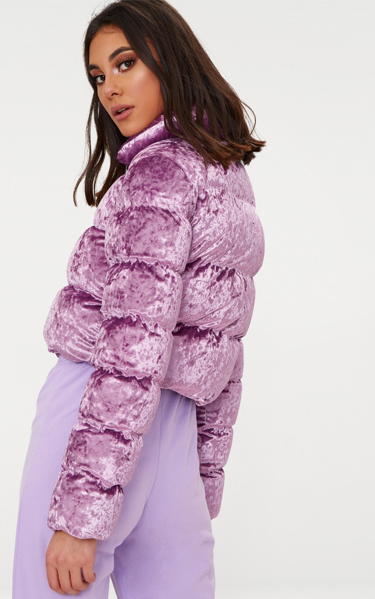 Lilac Crushed Velvet Cropped Puffer Jacket 2
