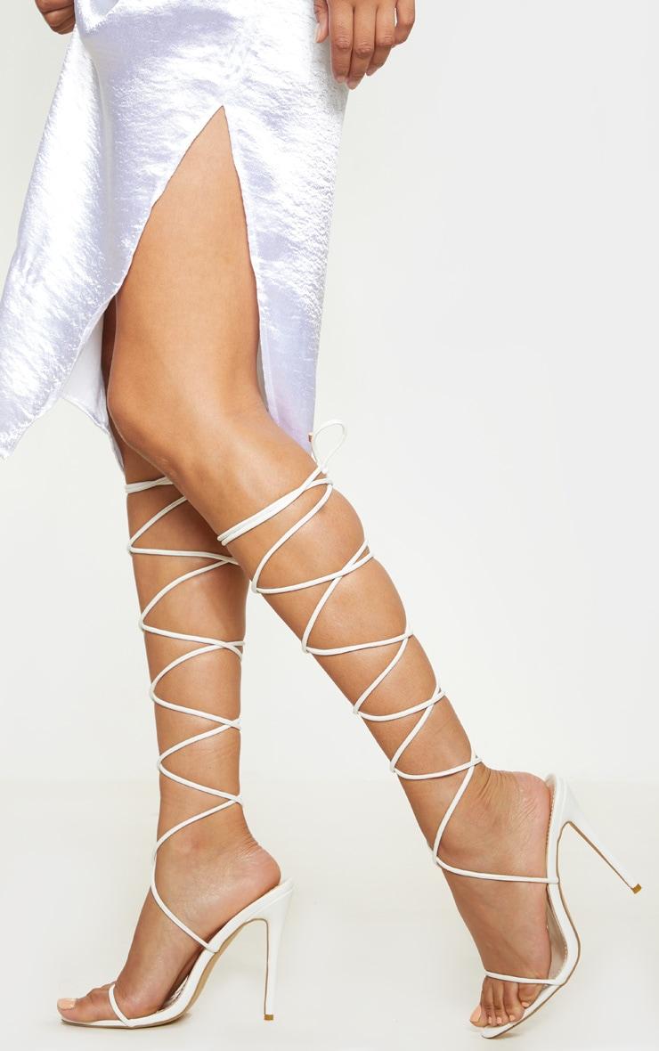 White Knee High Strappy Sandal 1