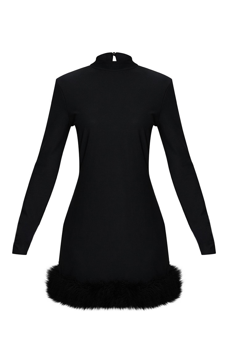 Black Feather Hem Detail Long Sleeve High Neck Bodycon Dress 3