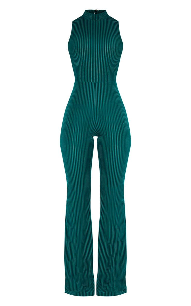 Emerald Green High Neck Striped Velvet Jumpsuit 3