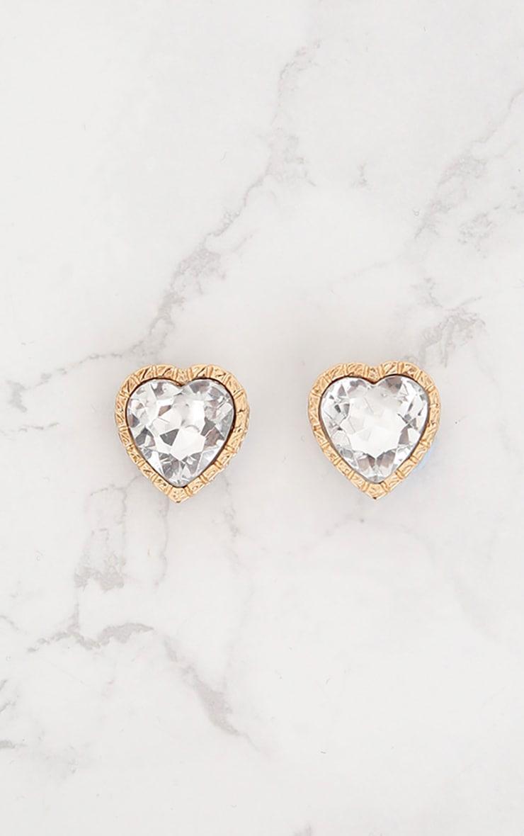 Gold Jewel Heart Stud Earrings 3