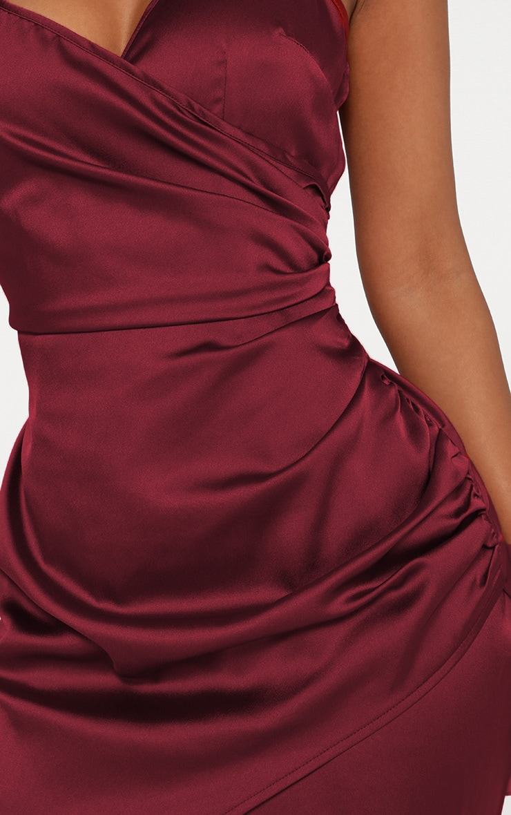 Shape Burgundy Satin Wrap Dress 5