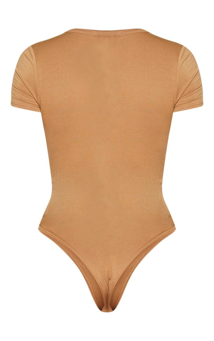 Tall Basic Deep Tan Plunge Short Sleeve Bodysuit 4