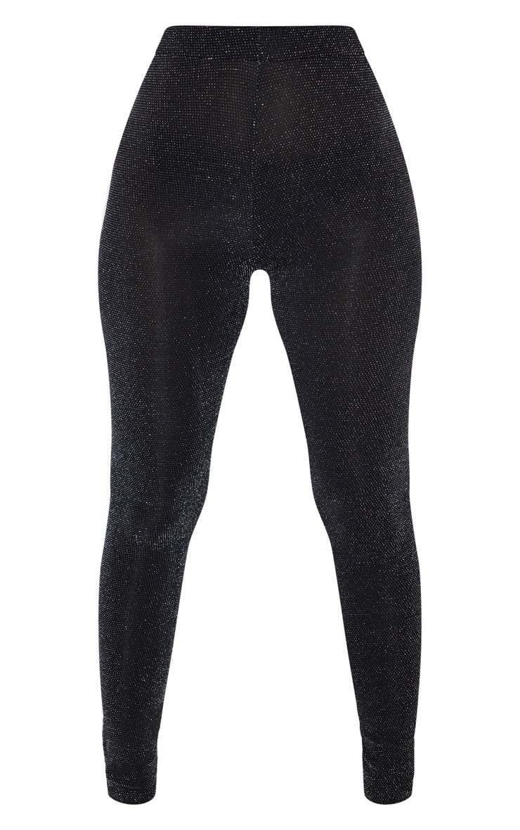 Petite Black Textured Glitter Legging 3
