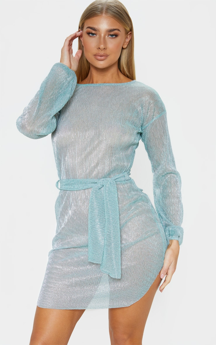 Mint Plisse Balloon Sleeve Sheer Shift Dress