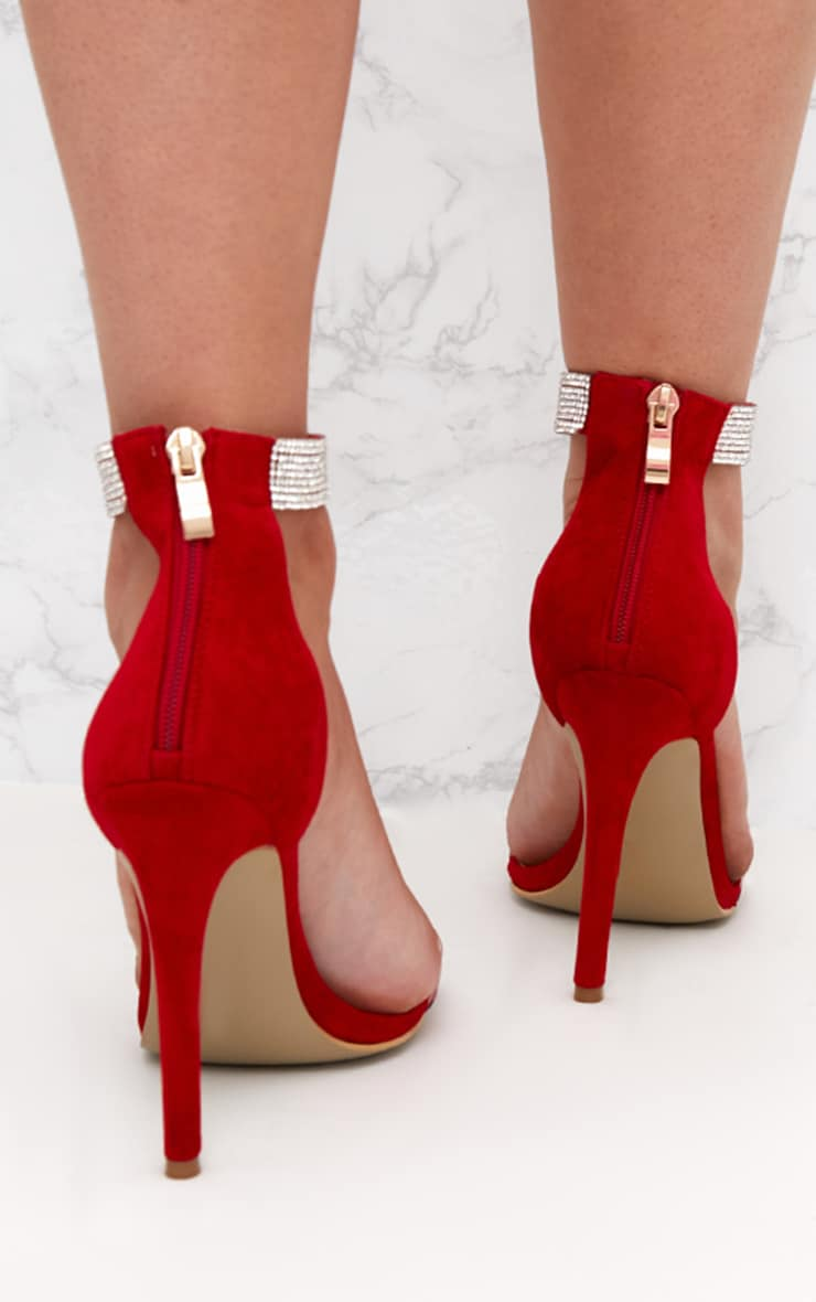 Red Faux Suede Diamante Strap Heeled Sandals  3