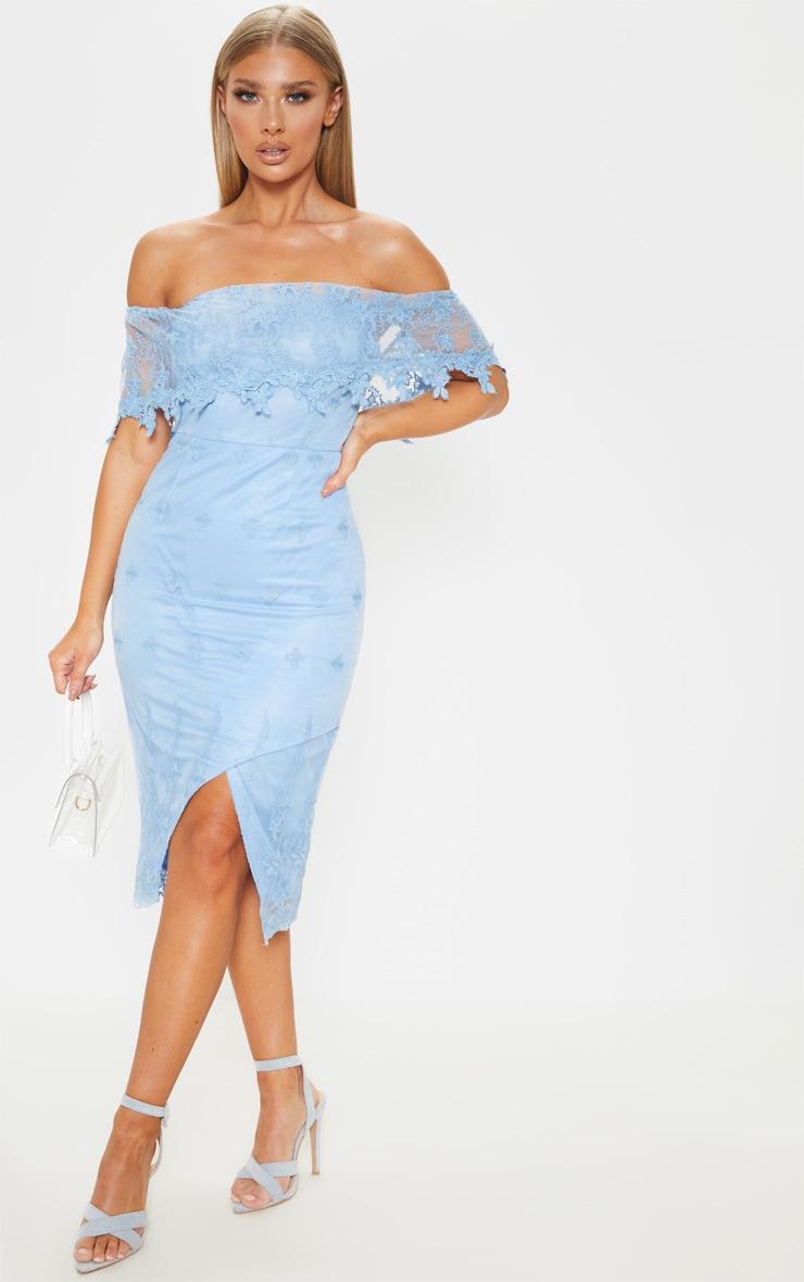 Dusty Blue Lace Bardot Bodycon Midi Dress 1