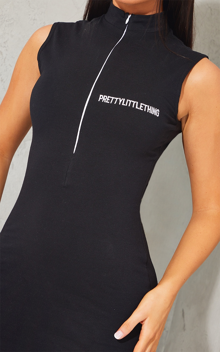 PRETTYLITTLETHING Black Embroidered Sleeveless Collar Detail Bodycon Dress 4
