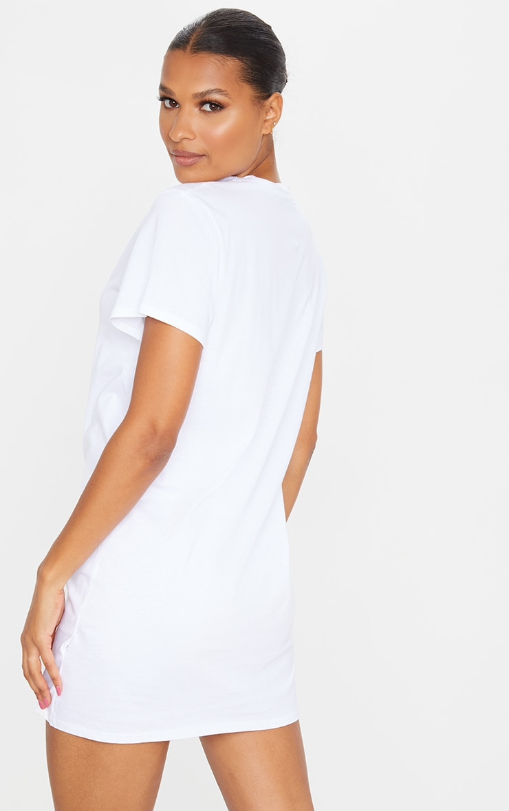 White Heart Embroidered T Shirt Dress 2
