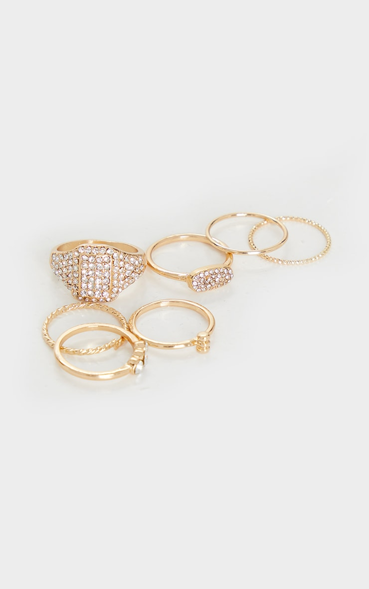 Gold Mixed Pave Diamante Ring 7 Pack 2