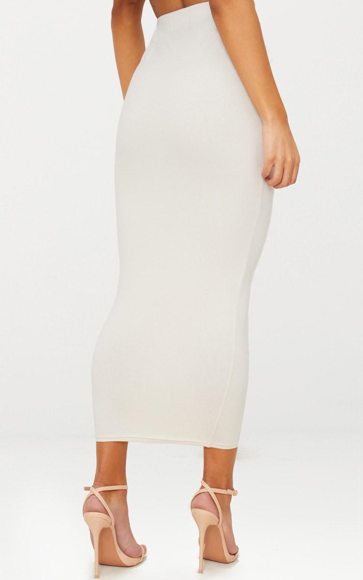 Cream Cotton Stretch Midaxi Skirt 4