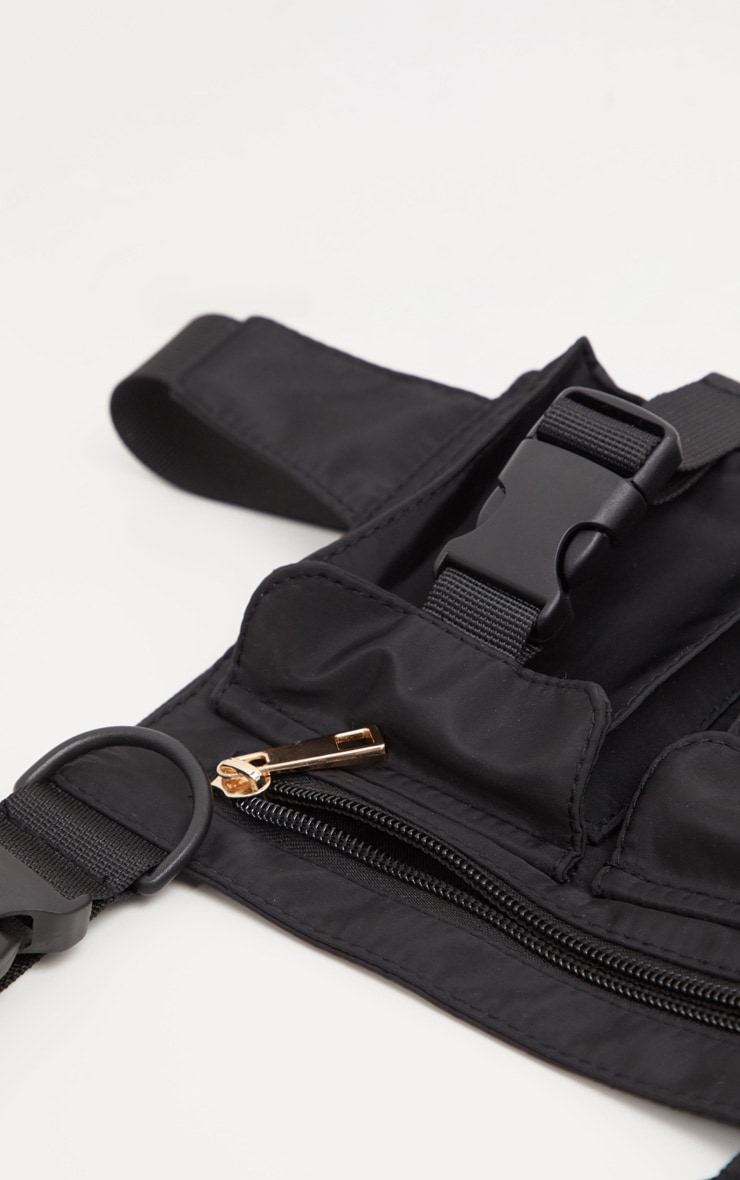 Black Nylon Double Pocket Front Harness Bag 4