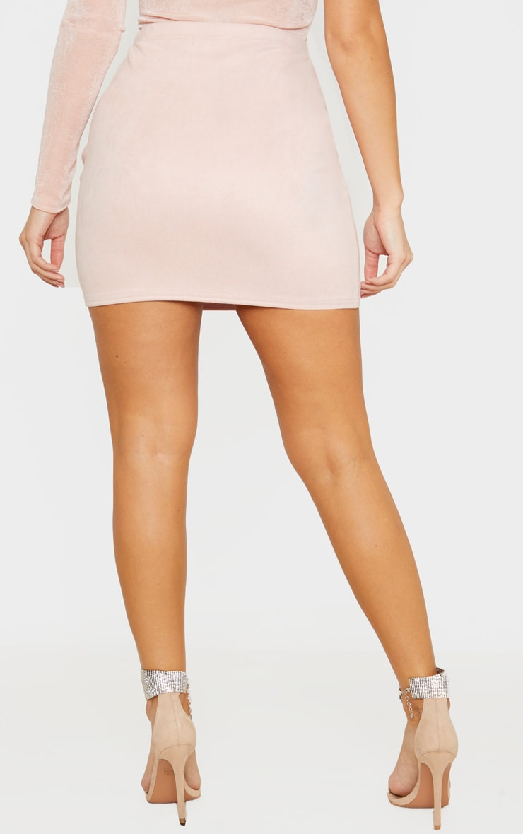 Nude Basic Faux Suede Mini Skirt 4
