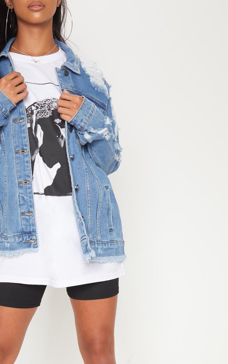Petite veste en jean vieillie bleu moyen 5