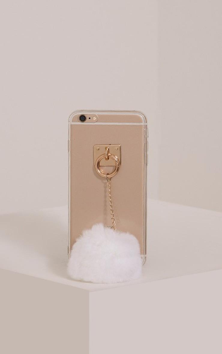 White Iphone 6+ Pom Pom Detail Phone Case 1