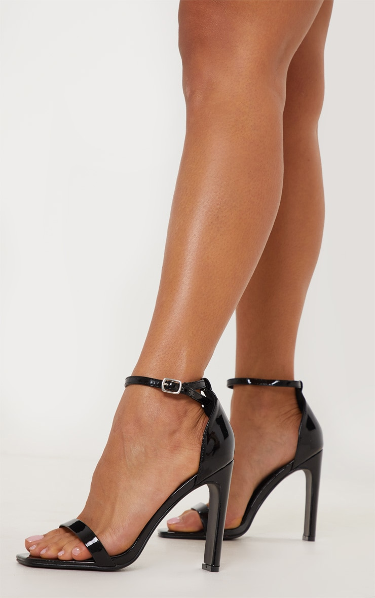 Black Square Toe Flat Heel Sandal 1
