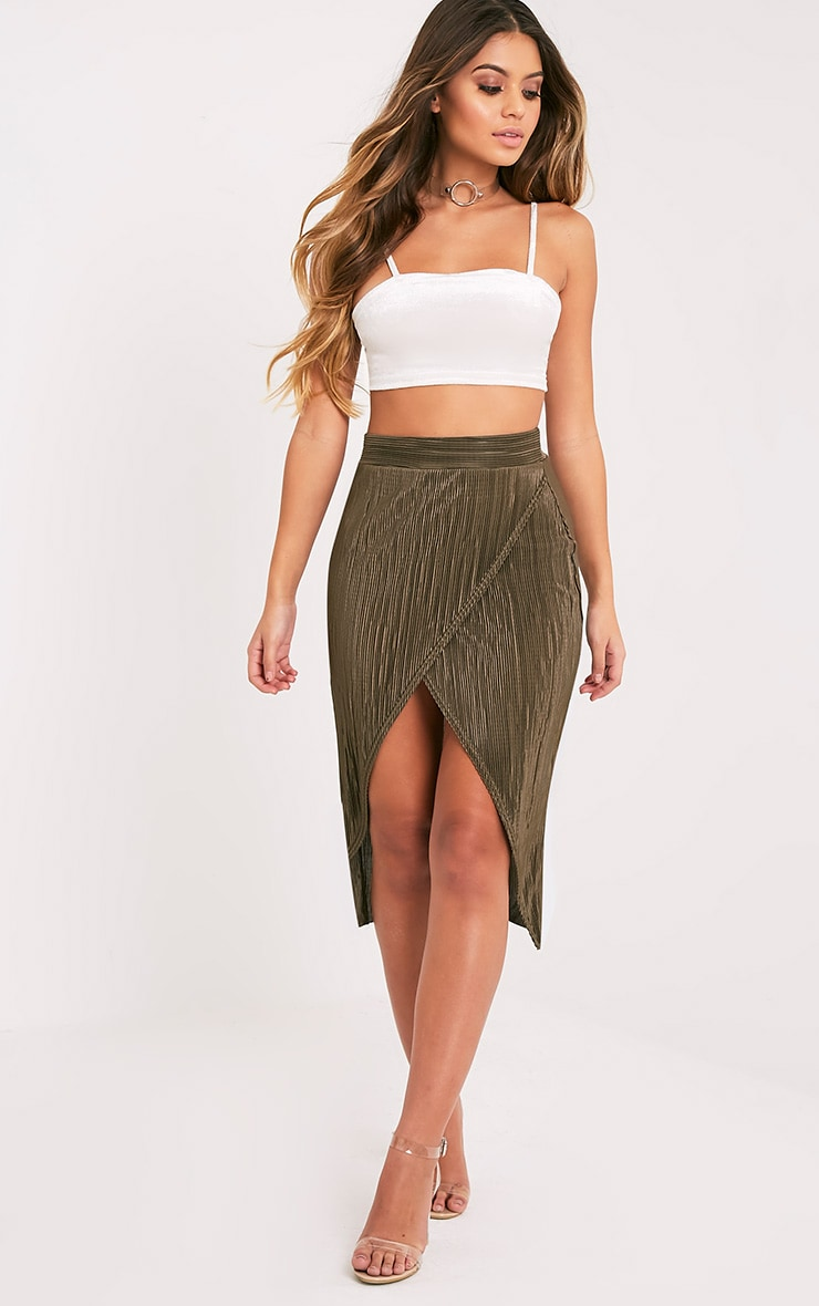 Leola Khaki  Pleated Wrap Midi Skirt 1