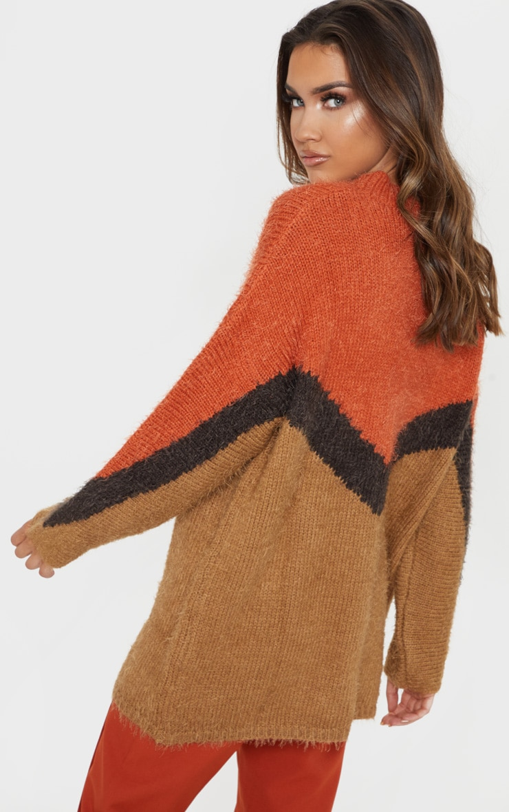 Brown Eyelash Chevron Knitted Jumper 2