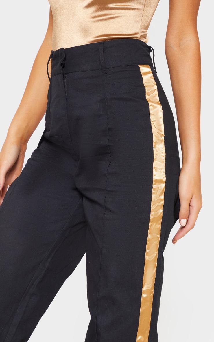 Black Contrast Side Ribbon Wide Leg Pants 5