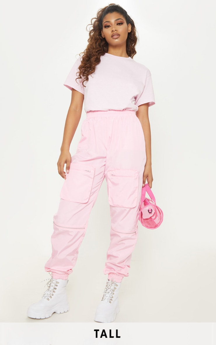 Tall Baby Pink Cargo Zip Pocket Detail Trousers 1