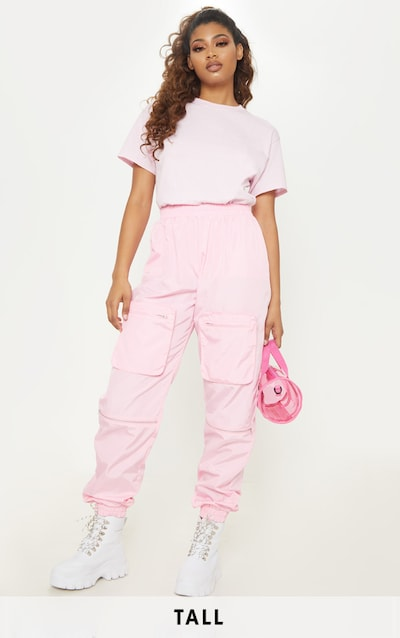 Tall Baby Pink Cargo Zip Pocket Detail Trousers