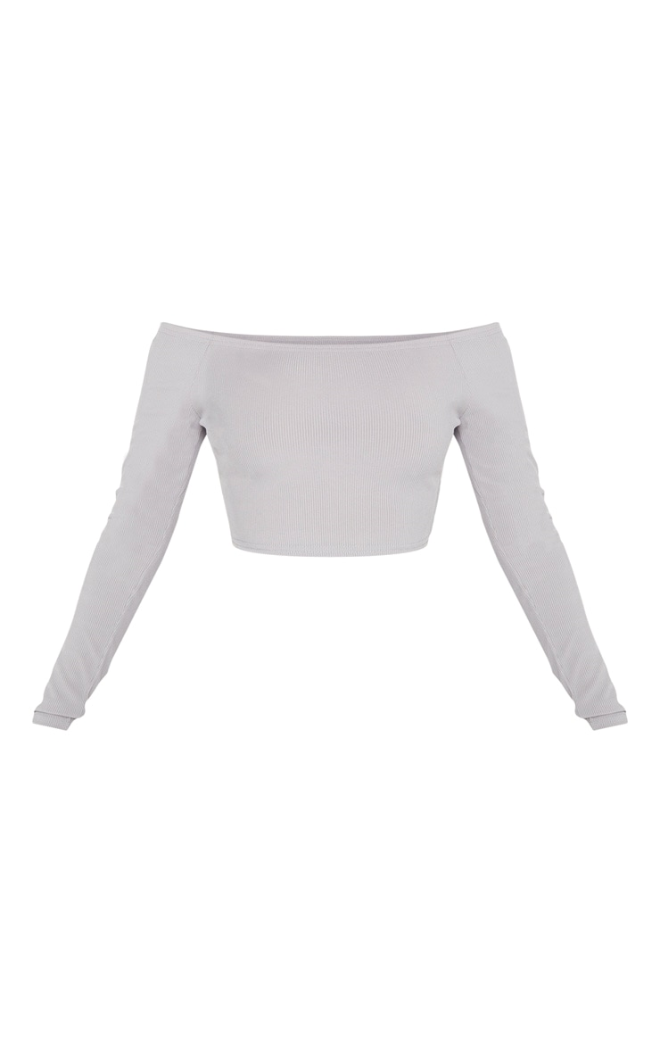 Shape Grey Marl Ribbed Bardot Long Sleeve Crop Top 2