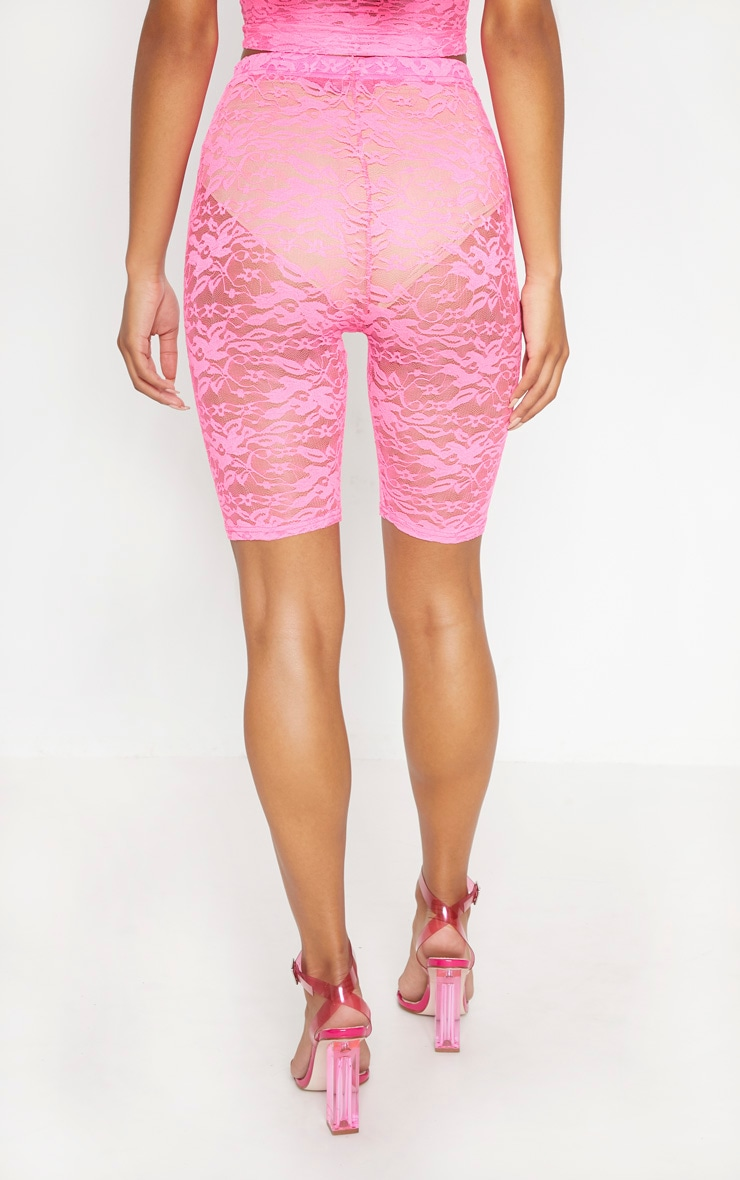 Neon Pink Lace Cycling Shorts 4