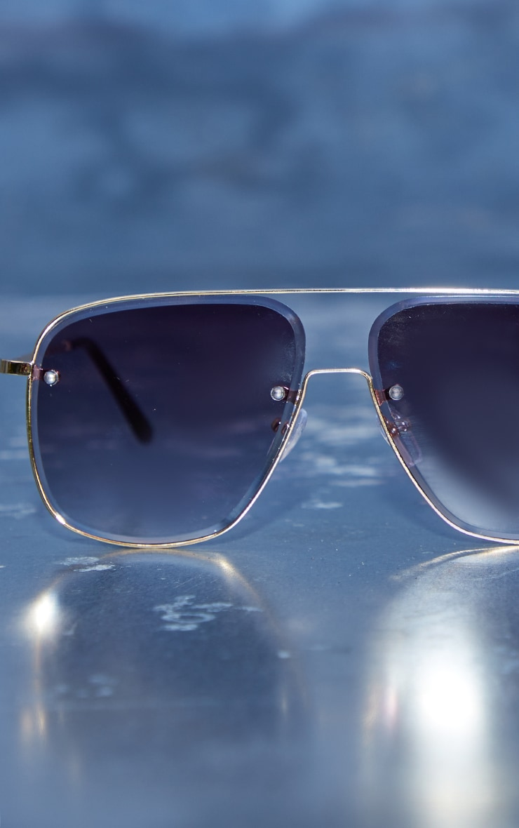 Black Faded Lens Cut Out Oversized Aviator Frame Sunglasses 1