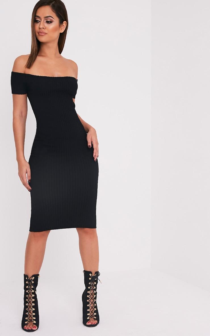 Erin robe midi bardot noire tricotée et côtelée 1