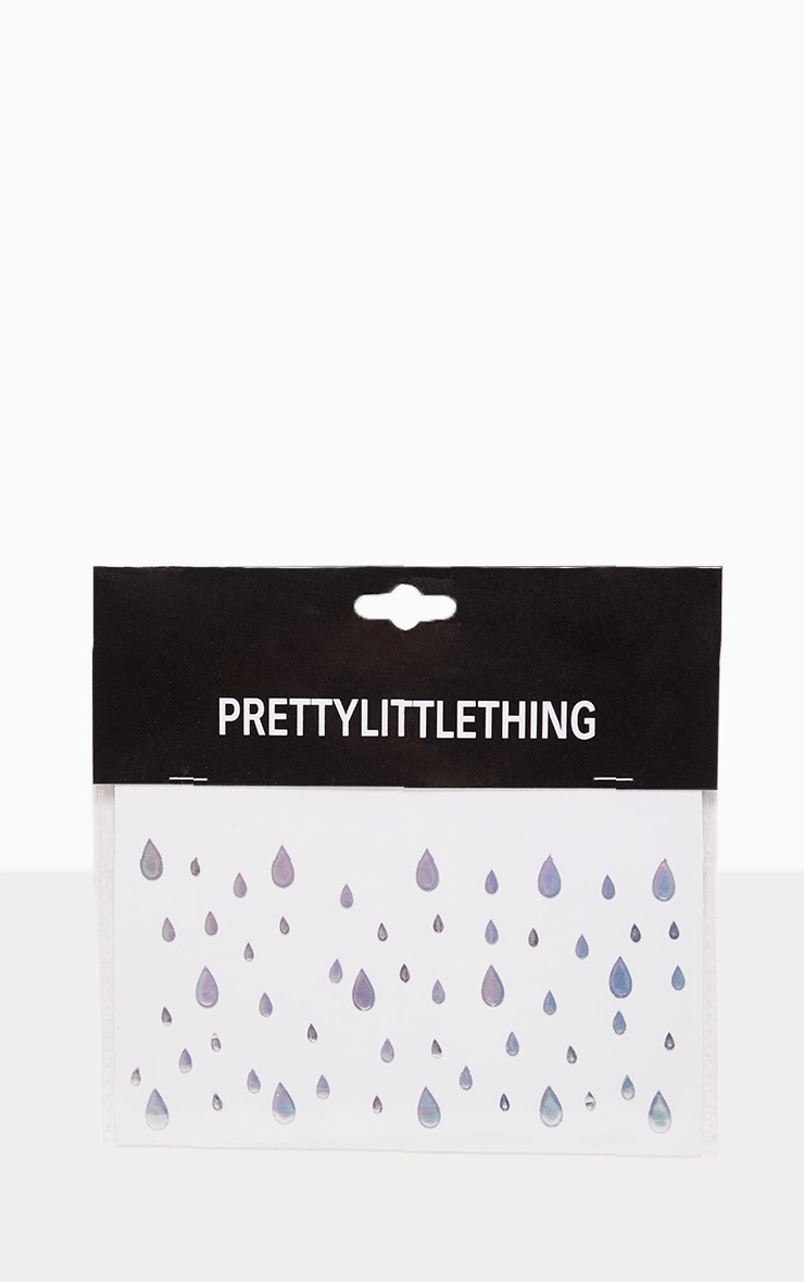 PRETTYLITTLETHING Rain On Me Metallic Silver Festival Stickers 2