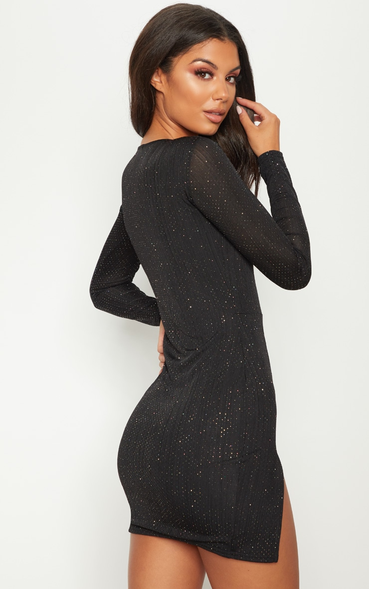 Black Glitter Split Leg  Bodycon Dress 2