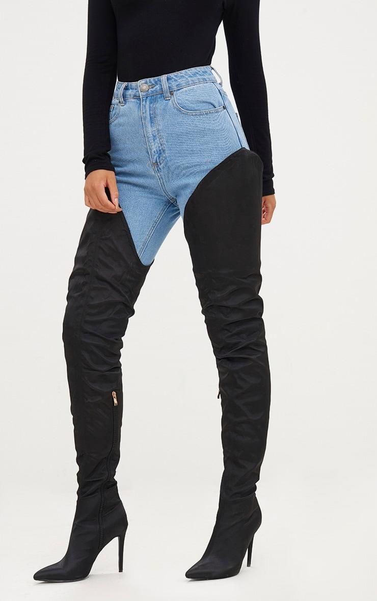 Black Satin Super Thigh High Heeled Boots 3
