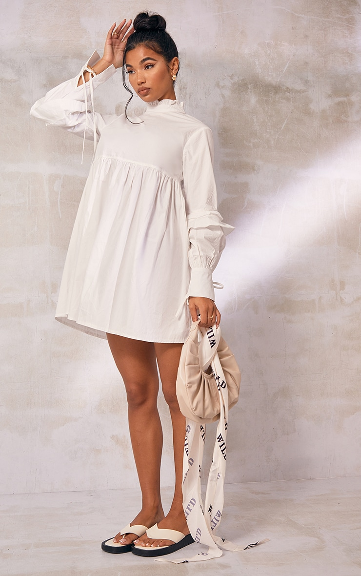 White Frill Sleeve Tie Detail Smock Dress 3