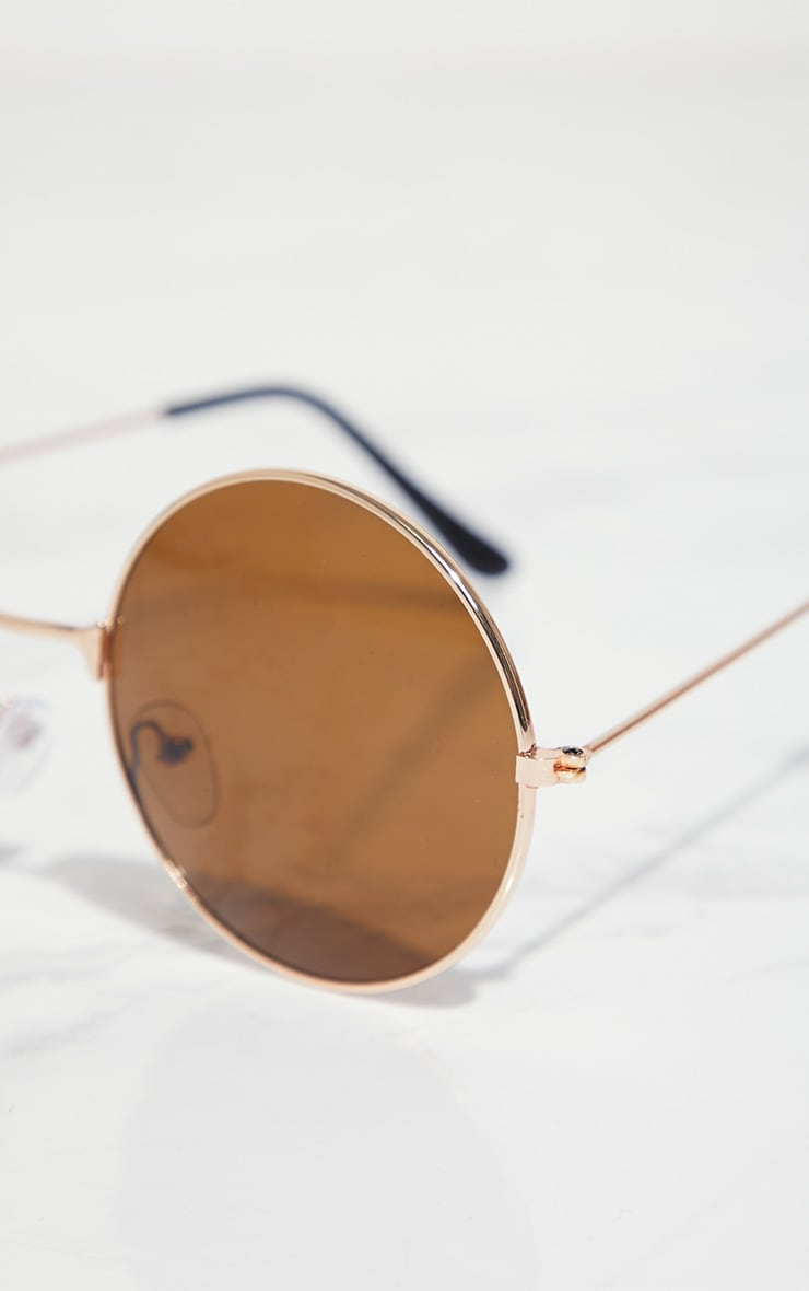 Rose Gold Brown Lens 90's Round Metal Sunglasses 4
