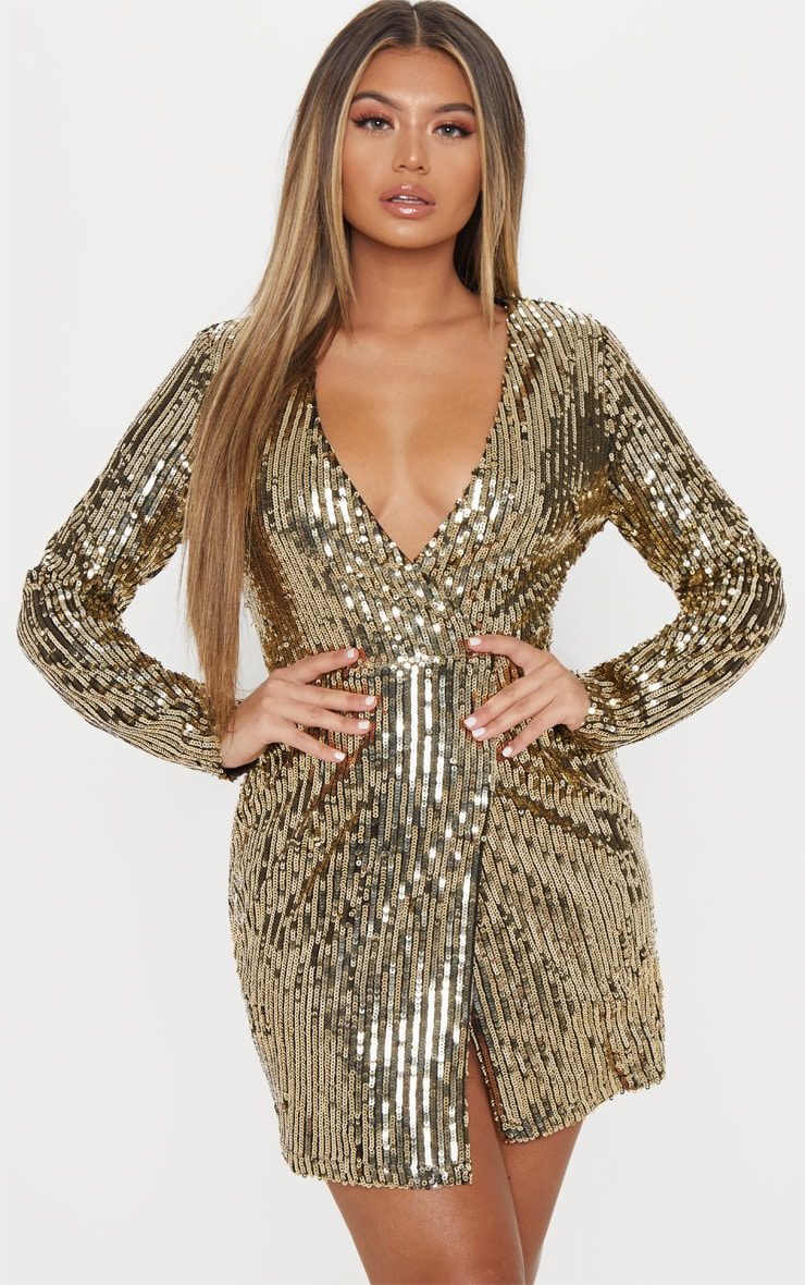 Gold Sequin Plunge Wrap Bodycon Dress 4